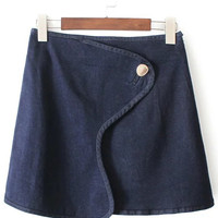Dark Blue Minimalist Wrap Denim Skirt