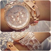 Rose Gold & Clear Crystal Watch  from Her Vanity Affair