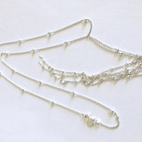 Unique, Lovely Hallmarked AV 925 Sterling Silver 24 Inch Fine Chain with Small Faceted Silver Balls 7 Inch Dangles from Center Ring, Lariat