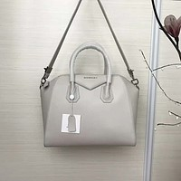 Givenchy Women's Antigona Sugar Goatskin Leather Satchel Bag, Grey  White