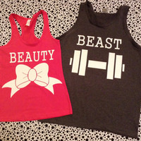 Free US Shipping Fast Processing Beauty and The Beast Matching TShirts or Tanks Hot Pink and Charcoal