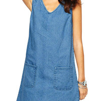 Blue Denim V Neck Tank Dress