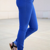Scarlet BLVD Color Skinny Pants -  royal blue
