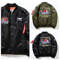 Autumn Winter Mens MA1 Bomber Jacket Insignia Kanye West Hip Hop Sport Male Windbreaker Jacket Flag Men's Embroidery Thick Baseball Jac
