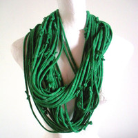 Emerald Green Infinity Scarf St. Patricks Day Silver Metalic Stripes Upcycled Clothing Kelly Green Circle Scarf Pantone Color of the Year