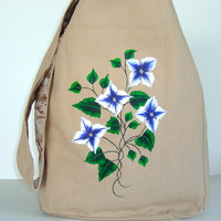 Hand Painted Khaki Hobo Bag With Blue and White Flowers