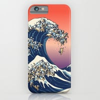The Great Wave of Pug iPhone & iPod Case by Huebucket
