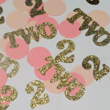 2nd birthday confetti, number 2, pink and gold party decorations, glitter, circles, custom number confetti, babys first, 1st birthday