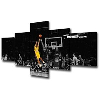 """Black and Yellow Background Match Wall Art Painting Basketball Player Kobe Bryant of Lakers at Staples Center in Los Angeles Pictures Print On Canvas for Home Decoration Ready to Hang -50""""W x 24""""H 50''Wx24''H Artwork-01"""