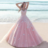 2017 Saudi Arabic Pink Wedding Dresses with Flowers Princess Puffy Scoop Ball Gown Tulle Bridal Gowns Vestido De Noiva Robe De