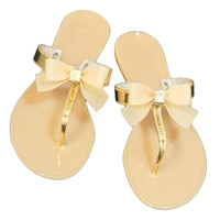 Bowknot Flip Flops Slippers Jelly Shoes Beach   apricot