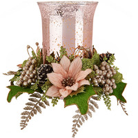"8"" Illuminated Vintage Glass Hurricane with Floral Ring Auto-Delivery — QVC.com"