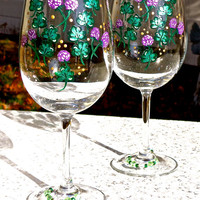 Painted Wine Glasses With Shamrocks And Crystal Wine Carms