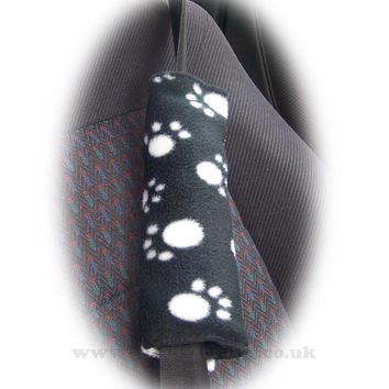 Black and White paw print fleece car seatbelt pads 1 pair