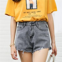High Waist Denim Shorts for Women Summer Jeans Short Vintage Casual Femme Short Jeans Mujer WS1822
