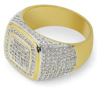 Hip Hop Micro Pave CZ Stones All Iced Out Bling Ring Gold Filled Hip-Hop Rings for Men Jewelry,gift,party