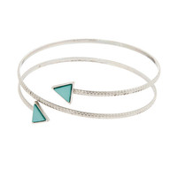 Antique Silver and Turquoise Arrows Wrap-Around Arm Cuff Bracelet