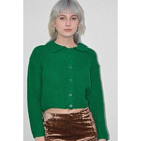 Edith Collared Knit Cardigan - Kelly Green