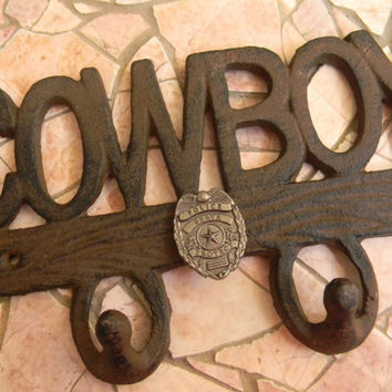 Cast Iron Police Officer Double Wall Hook, Western Cowboy, Police Decor, Boys Room Decor, Home Decor, Policeman Gifts, Law Enforement