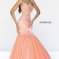 Long Strapless Mermaid Gown