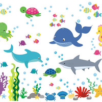 """Marine Life Wall Decals, Oceanic Wall Stickers, Aquarium Wall Decals, Shark Decal, Whale Decal, Seahorse Decal, Octopus Decal - 50"""" x 65"""""""
