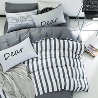 Bedding Set 100% cotton fashion simple style striped lattice 4pcs/3pcs Duvet Cover Sets Bed Linen Flat Bed Sheet Home Textile