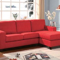 Acme Modern Small Red Fabric Sectional Sofa Couch Reversible Chaise