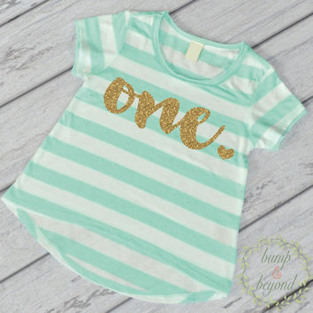 First Birthday Outfit Girl Gold Glitter One Year Old Girl First Birthday Shirt 1st Birthday Girl Outfit Green T-Shirt 102