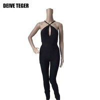 new arrival solid jumpsuit fashion bandage black hollow out rompers women jumpsuit