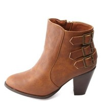 Bamboo Triple-Belted Chunky Heel Booties - Chestnut