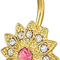 14Kt Gold Plated 316L Surgical Steel Pave CZ Simulated Diamond Crystal Sun Flower Belly Ring