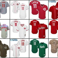 Camo white grey red Barry Larkin Authentic baseball Jersey , Men's #11 Cincinnati Reds Flexbase Collection stitched