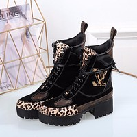 lv louis vuitton trending womens black leather side zip lace up ankle boots shoes high boots 332