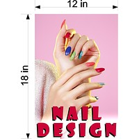 Nail Designs 08 Wallpaper Poster Decal with Adhesive Backing Wall Sticker Decor Indoors Interior Sign Vertical