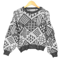 Vintage 80s Gray White Geometric Ugly Huxtable / Cosby Sweater