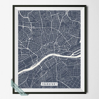 Frankfurt Print, Germany Map Poster, Frankfurt Street Map, Germany Print, Dorm Decoration, Wall Print, Room Decor, Wall Art, Back To School