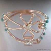 Wire Wrapped Copper Cross Bangle with 6 Turquoise Jasper Beads