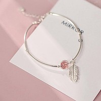 Vintage Style Feather Jewelry Bangle For Ladies Fine Sterling Silver With Pink Strawberry Stone Adjustable Bracelets