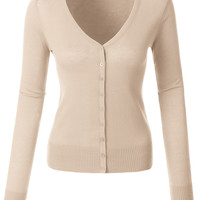 LE3NO Womens Lightweight V Neck Fine Knit Cardigan with Stretch