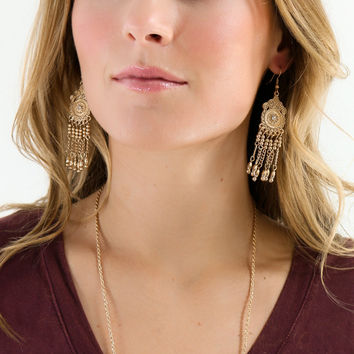 Shooting Star Antique Gold Earrings With Dangling Beads