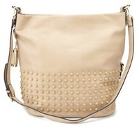 Pale Blush Oversized Studded Tote Bag by Charlotte Russe