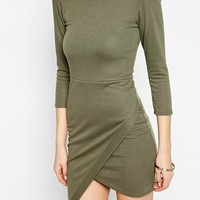 Club L Essentials Asymetric Hem Ponti Bodycon Dress
