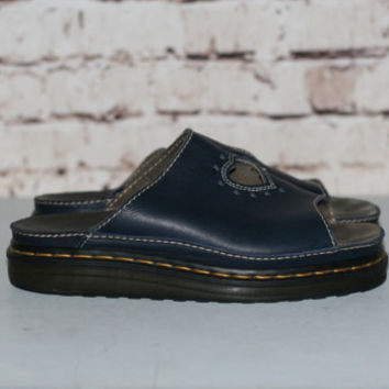 90s Dr Martens Sandals Navy Blue Leather US 7 UK 6 Slip On heart Cut out Chunky Punk Hipster Gothic Pastel NU Goth Shoes Boots Platform
