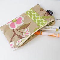 Pencil Case - Medium Clutch - Dogwood Pink with Lime Dots - Zipper Pouch School Supplies - Gift