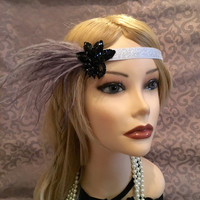 1920's silver blue gray black beaded cluster flapper headband head piece headpiece band ostrich feather satin art deco gatsby (682)