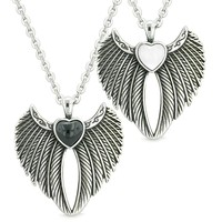 Angel Wings Magic Hearts Love Couples or Best Friends Simulated Onyx White Simulated Cats Eye Necklaces