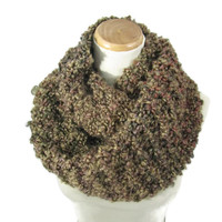 Knit Infinity Scarf, Knit Scarf, Circle Scarf, Hand Knit Scarf, Cowl Brown Scarf Gift For Her Fashion Accessory, Bulky Scarf