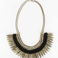 Feather Rhinestone Necklace- Gold One