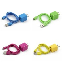 4X Colorful 2in1 US Plug Wall Charger Adapter + Micro USB Data Sync Charger Cable Cord for Samsung Galaxy S2 S3 i9100 i9300 S5830(Hot Pink, Green, Yellow, Sky Blue)
