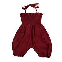born Infant Baby Girls Wine Red Romper Lace Halter Jumpsuit Outfits Sun suit Clothes